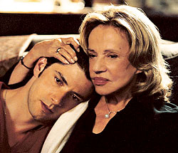 "Melvil Poupaud and Jeanne Moreau. (photo courtesy of ""Time to Leave"")"