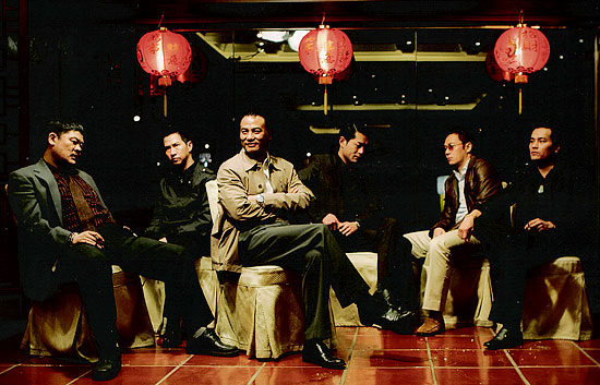 "Simon Yam (third from left) takes center stage in ""Triad Election."" (Photo Credit: Tartan USA)"