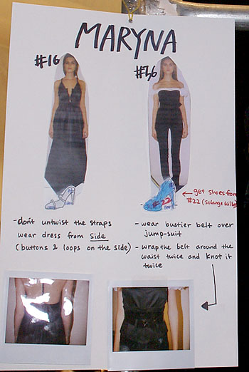 A poster with instructions on how model Maryna's two outfits should be worn. The numbers indicate when she was scheduled to walk in the run of show. (photo by Bibs Teh / Meniscus Magazine)