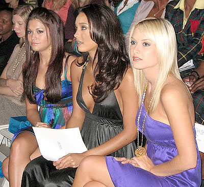 Hilary Cruz (Miss Teen USA 2007, left), Rachel Smith (Miss USA 2007, second from left) and Tara Conner (Miss USA 2006) were three of the numerous celebrities hitting the shows this season. (photo by Christopher Bourne / Meniscus Magazine)