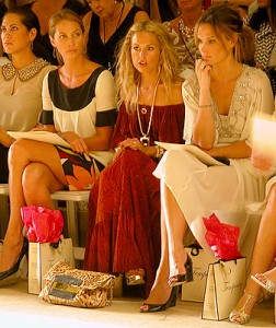 Christy Turlington, stylist Rachel Zoe and Molly Sims at the Temperley London show on Sept. 8, 2007. (photo by Yuan-Kwan Chan / Meniscus Magazine)