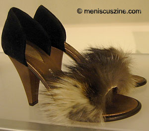 The original price for these Devi Kroell fur heels was $690. They were knocked down to $90...that is, as of 2:18 p.m. (photo by Yuan-Kwan Chan / Meniscus Magazine)