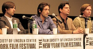 Jason Schwartzman, Adrien Brody, co-screenwriter Roman Coppola and Wes Anderson at a press conference for the film on Sept. 27, 2007. (photo by Christopher Bourne / Meniscus Magazine)