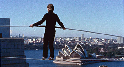 Philippe Petit in Sydney, Australia. (still courtesy of the Tribeca Film Festival)