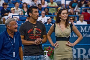 Charlie Brotman, Paradorn Srichaphan and former Miss Universe Natalie Glebova-Srichaphan. (photo by Kwai Chan / Meniscus Magazine)
