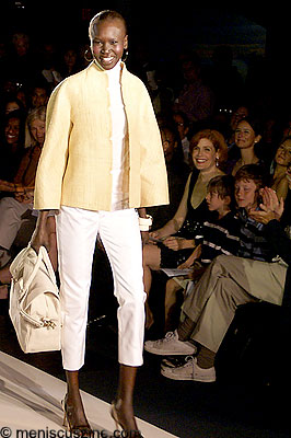 """Alek Wek models Ralph Rucci and an """"eco bag"""" from her wek1933 line. (photo by Bibs Teh / Meniscus Magazine)"""