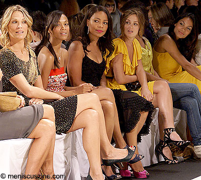 Left to right: Molly Sims, Zoe Saldana, Sanaa Lathan, Leighton Meester and Rosario Dawson at the Diane von Furstenberg show. (photo by Bibs Teh / Meniscus Magazine)