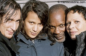 "(l-r) Gregoire Colin, Mati Diop, Alex Descas and Nicole Dogue in Claire Denis' ""35 Shots of Rum."" (photo courtesy of The 13th Pusan International Film Festival)"