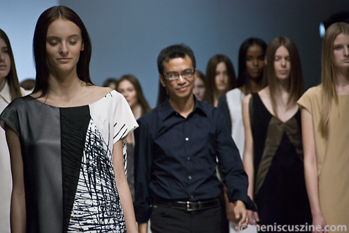 Joeffer Caoc at the conclusion of his Spring 2009 runway show in Toronto. (photo by Kwai Chan / Meniscus Magazine)