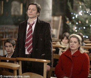 "(L-R) Emile Berling (Paul), Mathieu Amalric (Henri) and Catherine Deneuve (Junon) in Arnaud Desplechin's ""A Christmas Tale."" (Credit: Jean-Claude Lother - Why Not Productions)"