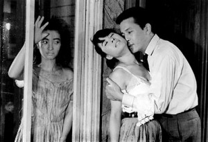 "(left to right) Lee Eun-sim (Myeong-sook), Eom Aeng-ran (Kyeong-hee) and Kim Jin-kyu (Dong-sik) form a deadly love triangle in Kim Ki-young's 1960 masterpiece ""The Housemaid."" (photo courtesy of the Film Society of Lincoln Center)"