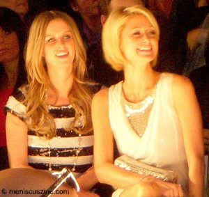 Nicky and Paris Hilton at the William Rast show on Feb. 16, 2009. (photo by Yuan-Kwan Chan / Meniscus Magazine)