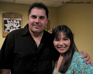 Producer-arranger Willie Ruiz and Japanese salsa singer Yoko backstage following Yoko's S.O.B.'s concert on October 24, 2008. (photo by Christopher Bourne / Meniscus Magazine)