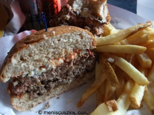Three-quarter pound burgers and french fry goodness at Casino el Camino. (photo by Wade-Hahn Chan / Meniscus Magazine)