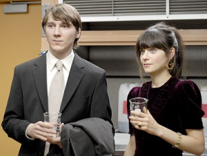 "Paul Dano (Brian Weathersby, left) and Zooey Deschanel (Harriet ""Happy"" Lolly) are the prototypically quirky indie-film romantic couple in Matt Aselton's ""Gigantic."" (photo courtesy of First Independent Pictures)"