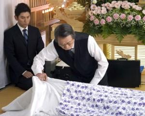 "Masahiro Motoki (Daigo Kobayashi, left) and Tsutomu Yamazaki (Sasaki) in Yojiro Takita's ""Departures."" (Credit: Here Media/Regent Releasing)"