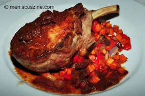 The Kurabota Pork Chop was the lone standout in a group of dinner offerings at the Water's Edge Restaurant. (photo by Bibs Teh / Meniscus Magazine)