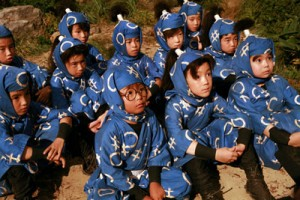 Seishiro Kato as Rentaro (the one with the glasses) with his classmates at ninja school. The movie is based off a long-running manga series. (photo courtesy of the Japan Society)
