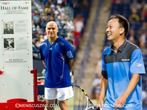 Andre Agassi (left) was inducted into the Rogers Cup Hall of Fame before his first exhibition match. Michael Chang (right) during a light moment during his match against Jim Courier. (both photos by Kwai Chan / Meniscus Magazine)
