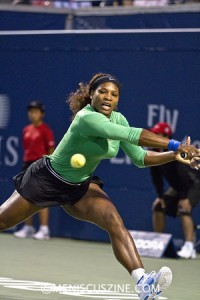 """""""I love Toronto,"""" Serena Williams said of the city that hosts the Rogers Cup women's event every other year. """"I've been getting really wonderful support and it's been amazing. Me likey."""" (photo by Kwai Chan / Meniscus Magazine)"""