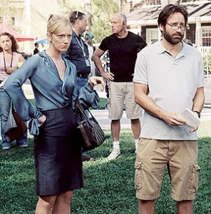"""Alice (Judy Greer) and Mike (David Duchovny) on the set of a set in, well, """"The TV Set."""" (photo courtesy of the Tribeca Film Festival)"""