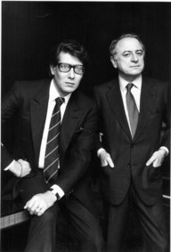 "Yves Saint-Laurent (left) and Pierre Berge in Pierre Thoretton's ""L'Amour Fou."" (photo courtesy of the Tribeca Film Festival)"