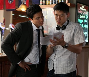 "Daniel Henney (left) with ""Shanghai Calling"" director Daniel Hsia on location in Shanghai. (photo by Gao Yuping / courtesy of Americatown LLC)"