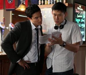 "Daniel Henney (left) with ""Shanghai Calling"" director Daniel Hsia on location in Shanghai. (photo by Gao Yuping / courtesy of Americatown LLC)"