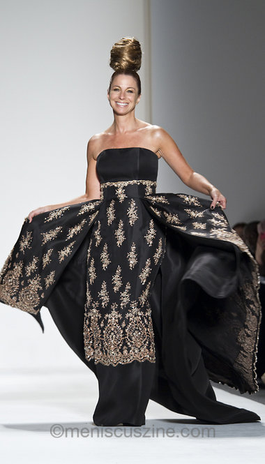 Jill Zarin on the runway modeling Zang Toi's black silk gazar strapless ballgown with nude beaded French lace encrusted with crystals. (photo by Kwai Chan / Meniscus Magazine)