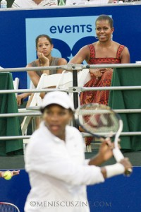 Michelle Obama (right) watches Serena Williams (foreground) make her WTT debut in Washington, D.C. (photo by Kwai Chan / Meniscus Magazine)
