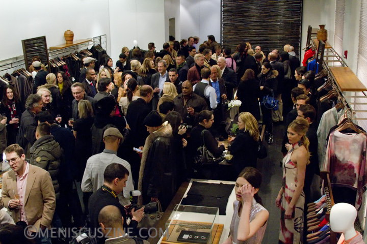 Guests mingle after the conclusion of the Blanc de Chine Fall 2012 runway show. (photo by Kwai Chan / Meniscus Magazine)