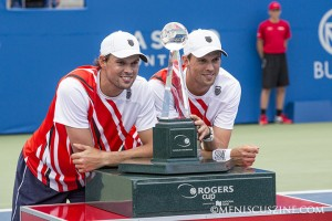 Bob (left) and Mike Bryan endured an unusual schedule to capture their fourth Rogers Cup. (photo by Kwai Chan / Meniscus Magazine)