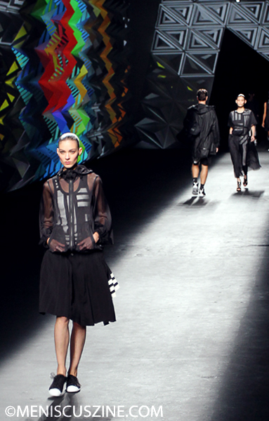 Walking the runway at the Y-3 Spring 2013 10th anniversary show in New York. (photo by Ekaterina Golovinskaya / Meniscus Magazine)