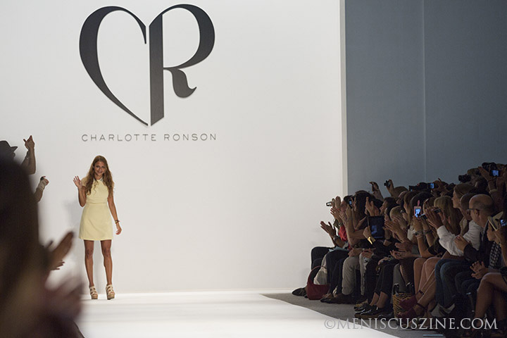 Closing the show: Charlotte Ronson greets the crowd after her Spring 2013 New York Fashion Week turn. (photo by Kwai Chan / Meniscus Magazine)