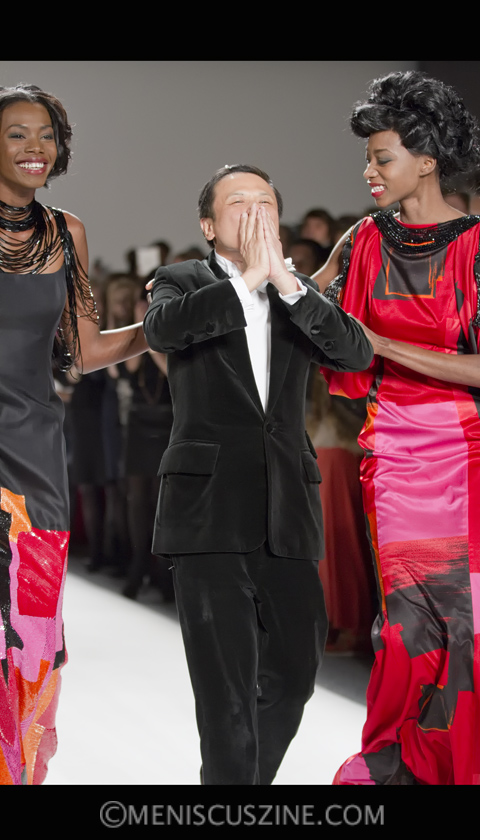 Zang Toi (center) at the conclusion of his Fall 2012 runway show in New York. (photo by Kwai Chan / Meniscus Magazine)