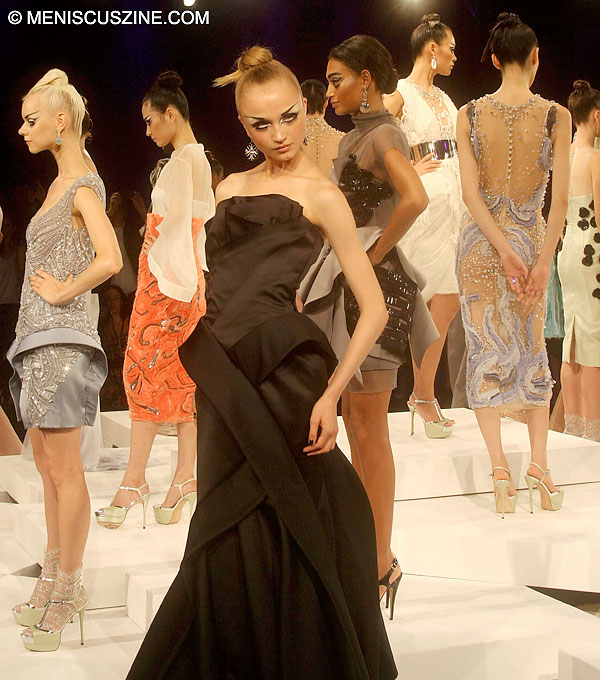 Assorted looks from the Rafael Cennamo presentation at New York Fashion Week in Lincoln Center. (photo by Angela K. Hom / Meniscus Magazine)