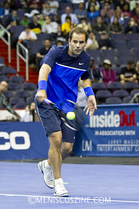 Pete Sampras lines up one of his signature one-handed backhands at the Champions Series Tennis event in Washington, D.C. (photo by Kwai Chan / Meniscus Magazine)
