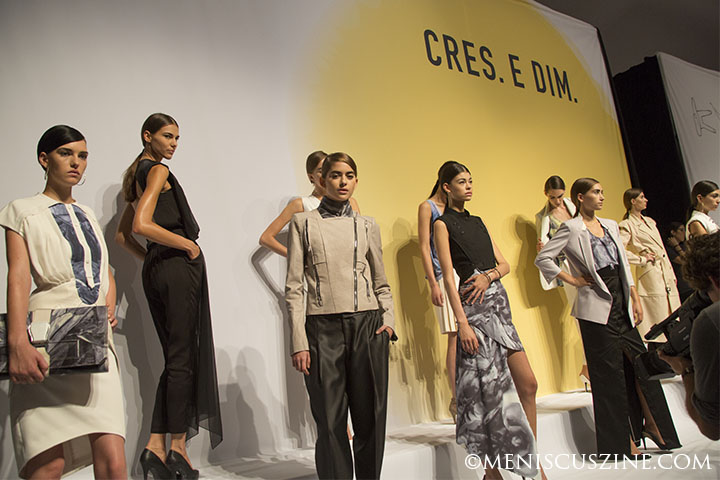 "Outfits from the CRES. E DIM Spring 2013 women's collection at New York Fashion Week. The collection, Kim told Meniscus Magazine at the time, was inspired by ""extreme weather...combining hurricanes and other disastrous events, so I could come up with sharp looks in my whole collection."" (photo by Kwai Chan / Meniscus Magazine)"