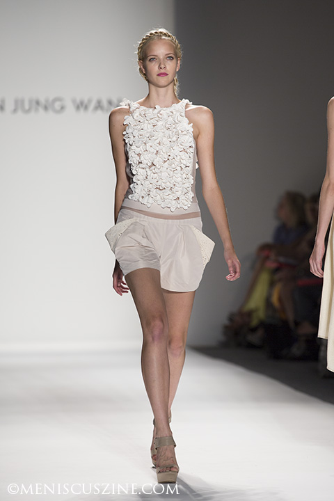 3-D flower applique romper. (photo by Kwai Chan / Meniscus Magazine)