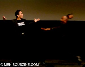 Comedy-fu: Grandmaster Y.K. Kim shows some moves at the Walter Reade Theater, Film Society at Lincoln Center, on July 7, 2012. (screenshot by Yuan-Kwan Chan / Meniscus Magazine)
