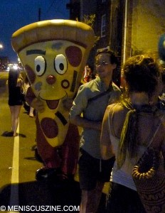 One visitor loomed large in the queues on opening day at Pizza Brain in Philadelphia. (photo by Scott Miller / Meniscus Magazine)