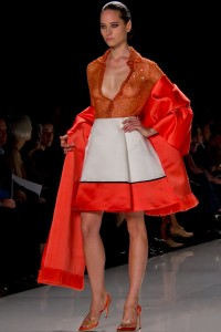 A look from the Chado Ralph Rucci Spring 2013 show at New York Fashion Week. (photo by Bibs Teh / Meniscus Magazine)