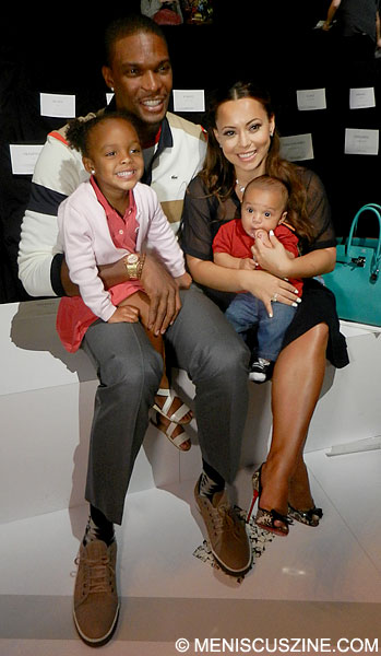 Chris Bosh and family attend the Lacoste Spring 2013 runway show at New York Fashion Week. (photo by Yuan-Kwan Chan / Meniscus Magazine)