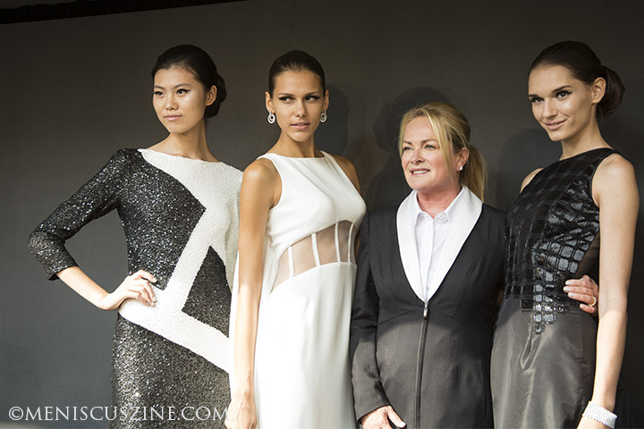 Label designer Pamella DeVos. second from right, with several models at her Spring 2013 presentation at New York Fashion Week. (photo by Yuan-Kwan Chan / Meniscus Magazine)