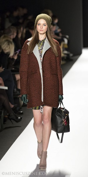 A look from Rebecca Minkoff's Fall 2013 runway show at New York Fashion Week. (photo by Kwai Chan / Meniscus Magazine)