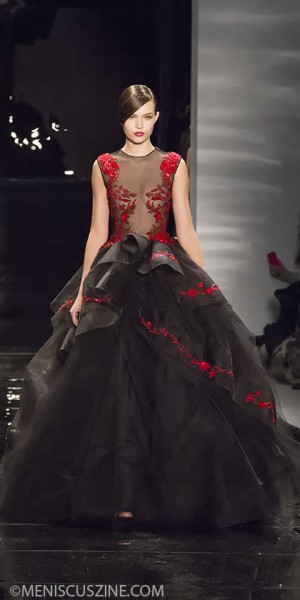 The final look from Reem Acra's Fall 2013 runway show at Lincoln Center. (photo by Kwai Chan / Meniscus Magazine)