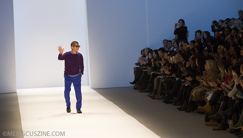 Designer Tadashi Shoji following the conclusion of his Fall 2013 runway show at New York Fashion Week. (photo by Kwai Chan / Meniscus Magazine)