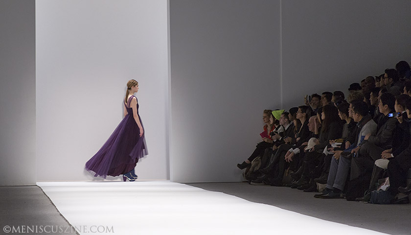 Shown here at Concept Korea and later in her solo show, Son Jung Wan told Meniscus before the show that this dark violet pleated mesh gown was her favorite piece in her Fall 2013 collection. (photo by Kwai Chan / Meniscus Magazine)