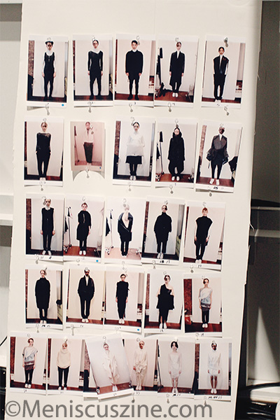 A poster showing all the outfits to be unveiled on the runway at the PARKCHOONMOO Fall 2013 show in New York. (photo by Ekaterina Golovinskaya / Meniscus Magazine)