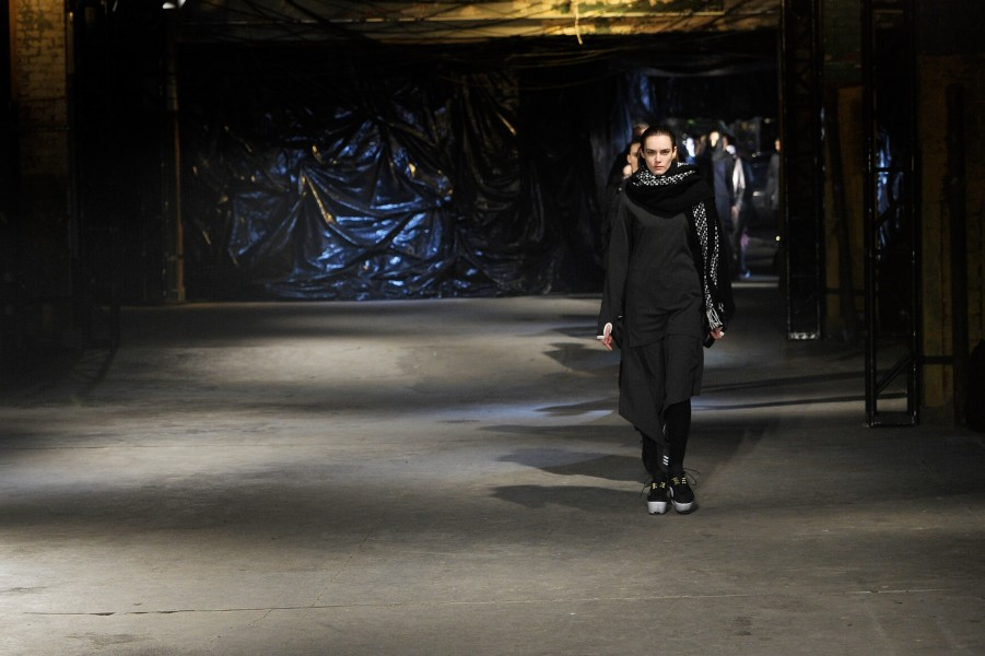 "Titled ""future thrift,"" the Y-3 Fall/Winter 2013 collection aimed to combine the past with visual technological cues. (photo courtesy of Getty Images)"